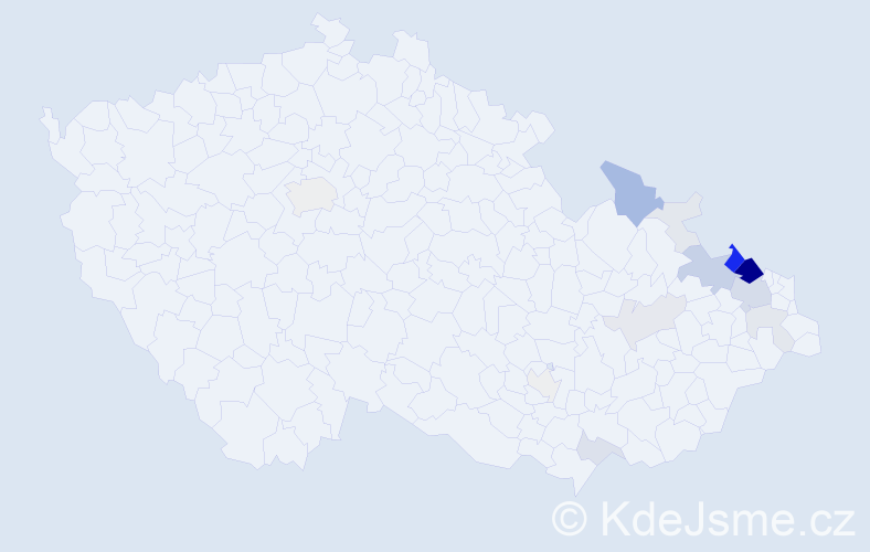 Příjmení: 'Dombek', počet výskytů 75 v celé ČR