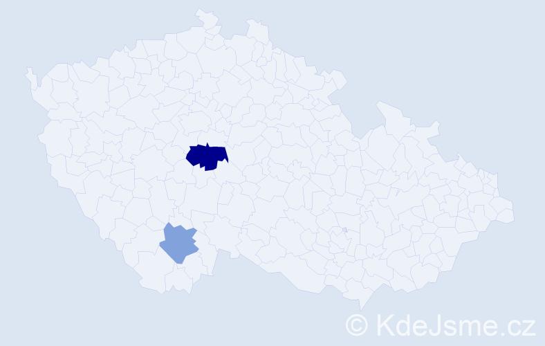 Příjmení: 'Houzer', počet výskytů 3 v celé ČR