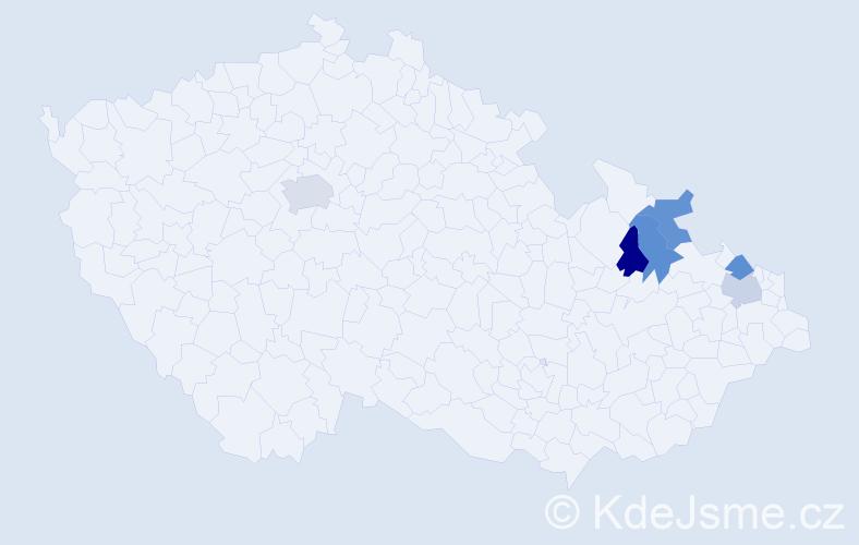 Příjmení: 'Godíková', počet výskytů 7 v celé ČR