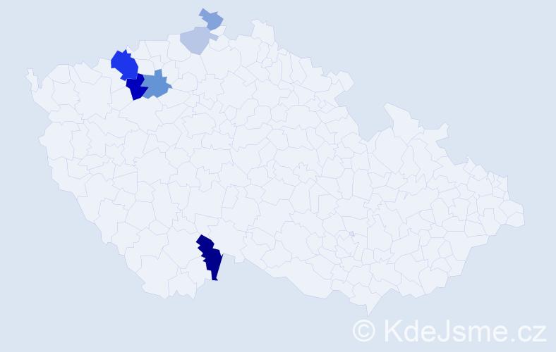 Příjmení: 'Eisertová', počet výskytů 16 v celé ČR