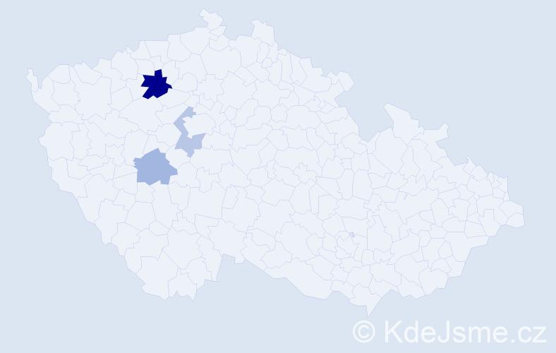 Příjmení: 'Cajkánová', počet výskytů 6 v celé ČR