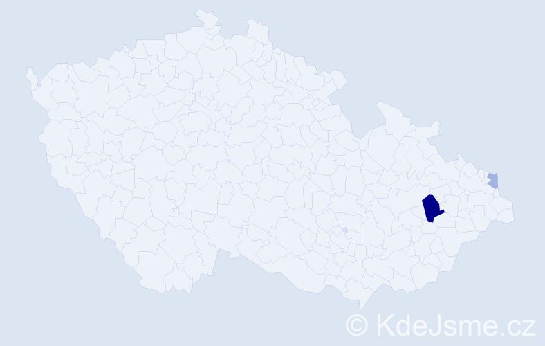 Příjmení: 'Ďuraka', počet výskytů 4 v celé ČR