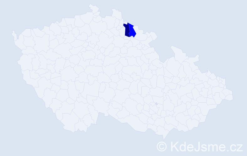 Příjmení: 'Gaudelová', počet výskytů 2 v celé ČR