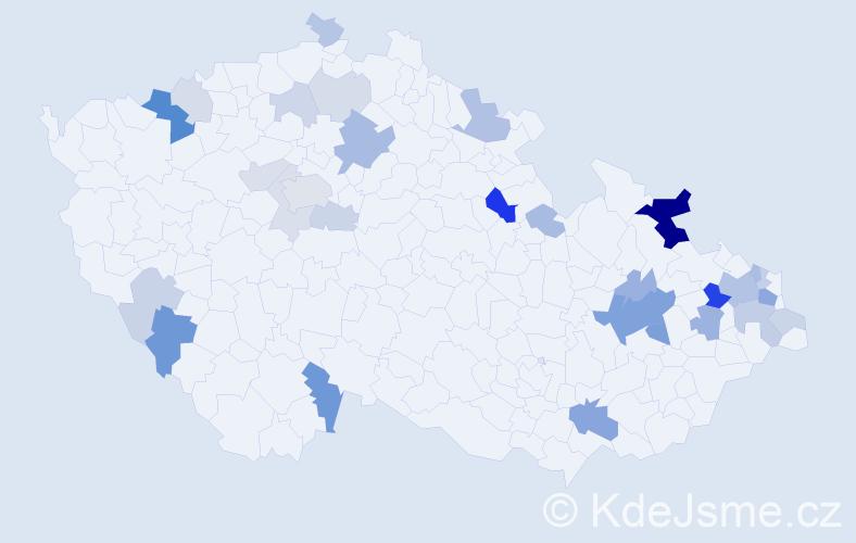 Příjmení: 'Čanecký', počet výskytů 76 v celé ČR