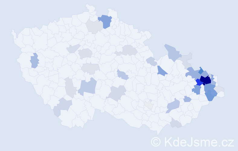 Příjmení: 'Bestová', počet výskytů 181 v celé ČR