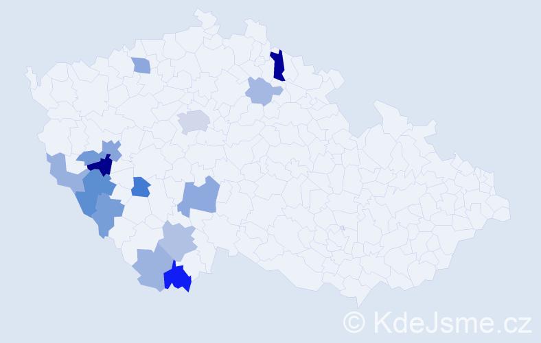 Příjmení: 'Huřťák', počet výskytů 33 v celé ČR