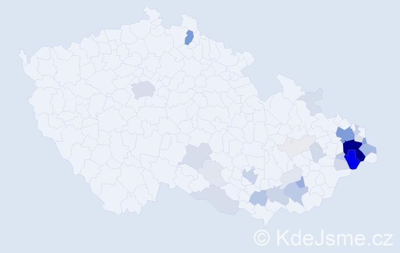Příjmení: 'Klimánek', počet výskytů 144 v celé ČR