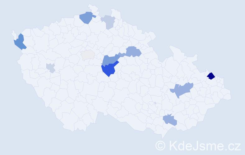 Příjmení: 'Kreuzinger', počet výskytů 21 v celé ČR