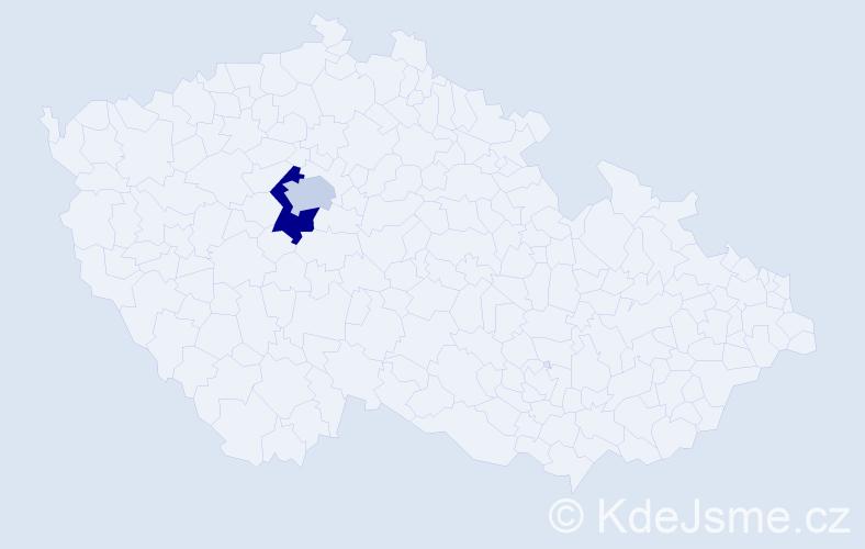 Příjmení: 'Aslan', počet výskytů 5 v celé ČR