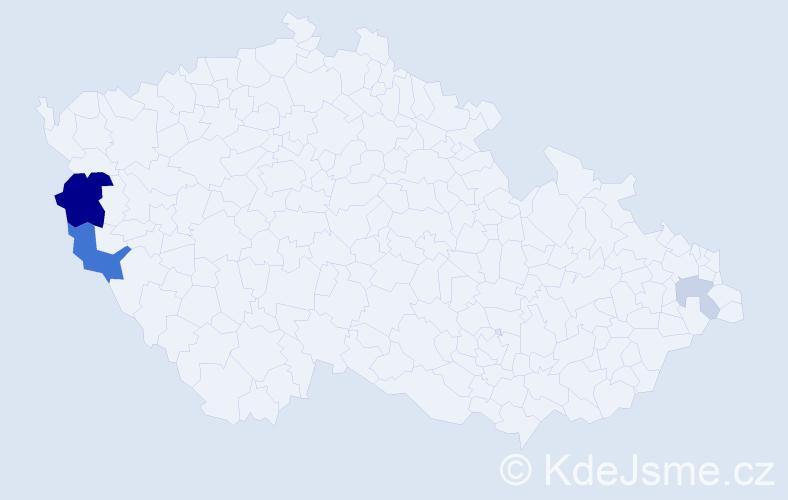 Příjmení: 'Cabovská', počet výskytů 9 v celé ČR