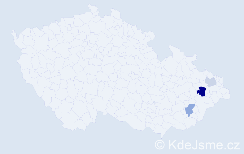 Příjmení: 'Ennis', počet výskytů 5 v celé ČR