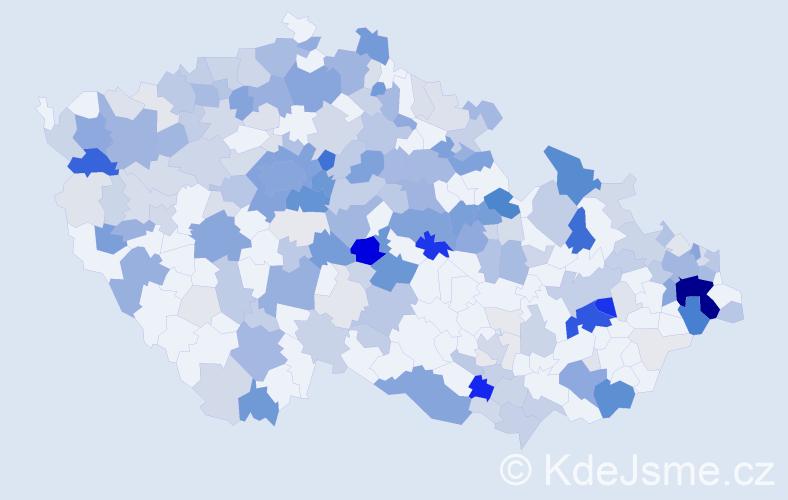Příjmení: 'Kavková', počet výskytů 891 v celé ČR