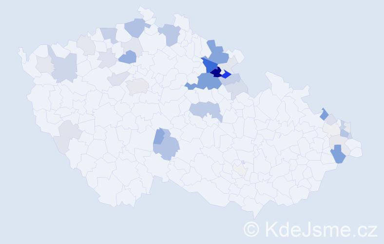 Příjmení: 'Jonešová', počet výskytů 111 v celé ČR
