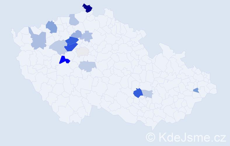 Příjmení: 'Burant', počet výskytů 42 v celé ČR