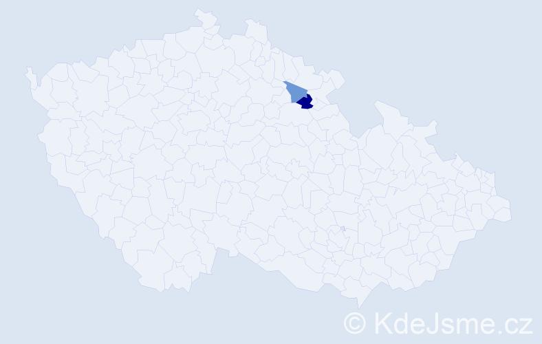 Příjmení: 'Laczika', počet výskytů 3 v celé ČR
