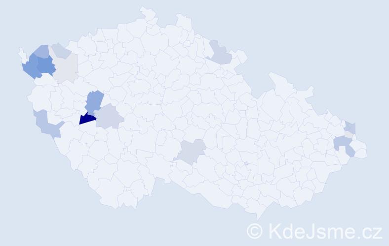 Příjmení: 'Kunštár', počet výskytů 46 v celé ČR