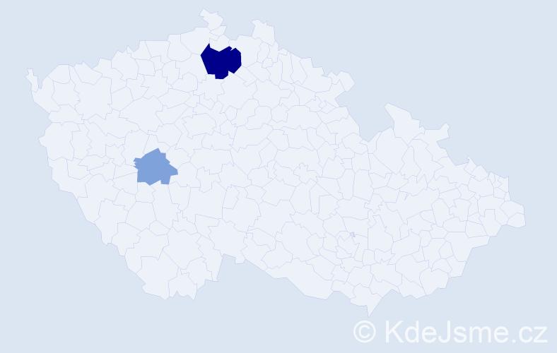 Příjmení: 'Jobková', počet výskytů 5 v celé ČR