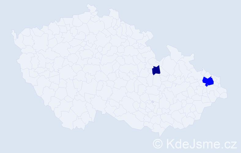 Příjmení: 'Jedziniaková', počet výskytů 8 v celé ČR