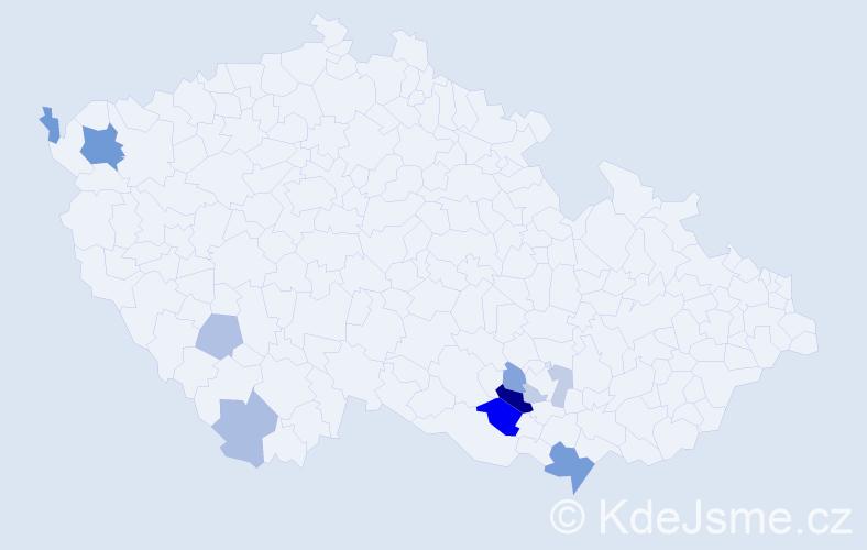 Příjmení: 'Čudanová', počet výskytů 19 v celé ČR