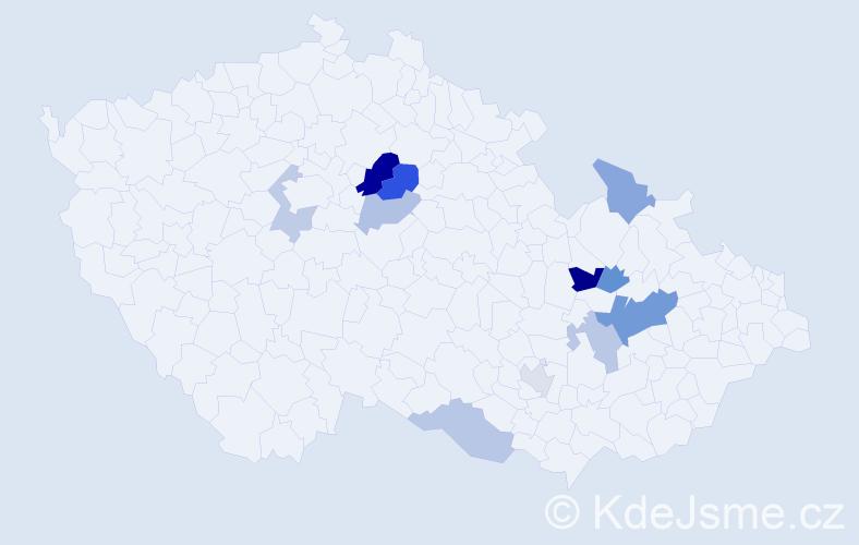 Příjmení: 'Kostrhon', počet výskytů 19 v celé ČR