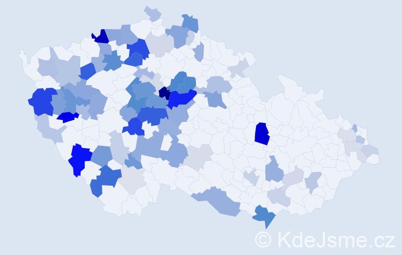 Příjmení: 'Danešová', počet výskytů 238 v celé ČR