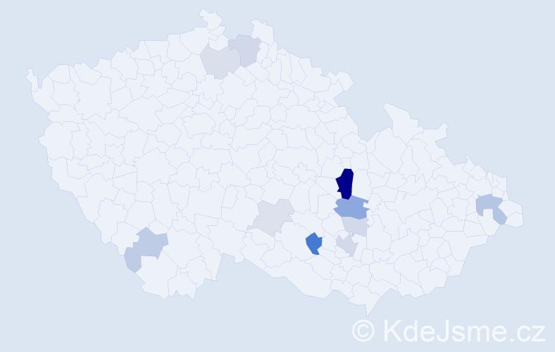 Příjmení: 'Culík', počet výskytů 27 v celé ČR