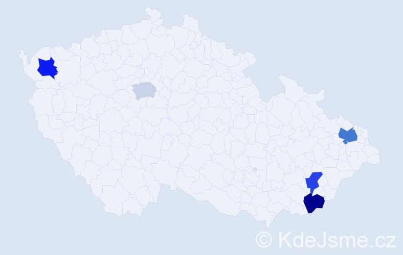 Příjmení: 'Abelovská', počet výskytů 6 v celé ČR