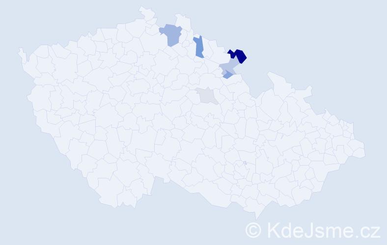 Příjmení: 'Bůnová', počet výskytů 16 v celé ČR
