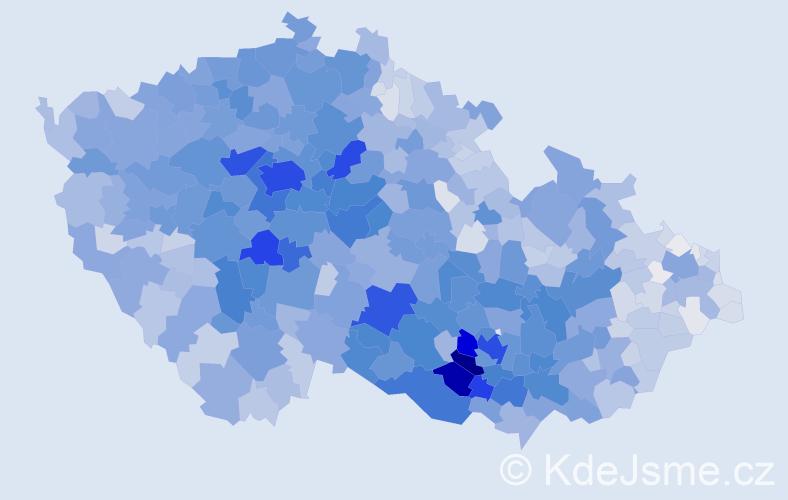 Příjmení: 'Procházková', počet výskytů 16618 v celé ČR