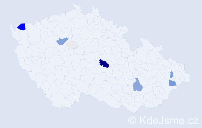 Příjmení: 'Cisáriková', počet výskytů 9 v celé ČR
