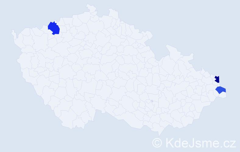 Příjmení: 'Hasslová', počet výskytů 9 v celé ČR