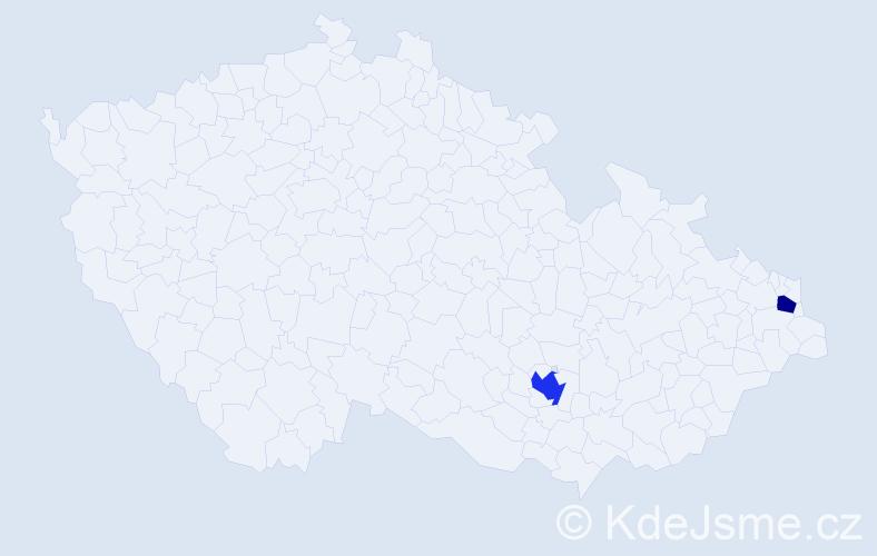 Příjmení: 'Gabríková', počet výskytů 3 v celé ČR