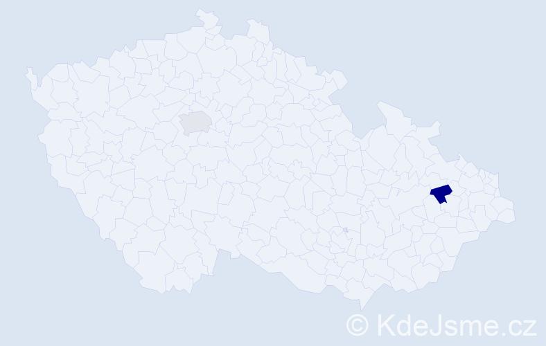 Příjmení: 'Istelová', počet výskytů 2 v celé ČR