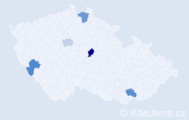 Příjmení: 'Dám', počet výskytů 14 v celé ČR