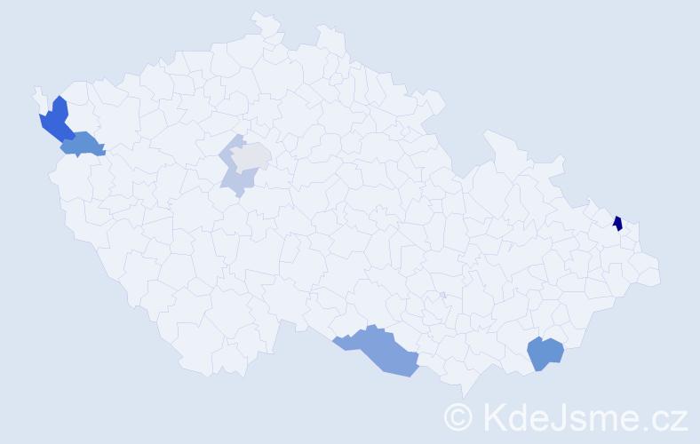 Příjmení: 'Čučela', počet výskytů 14 v celé ČR