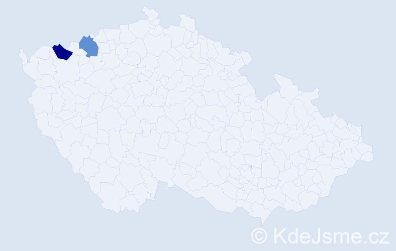 Příjmení: 'Hágová', počet výskytů 2 v celé ČR
