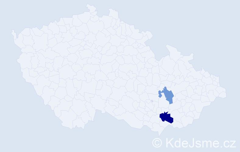 Příjmení: 'Dolezel', počet výskytů 3 v celé ČR