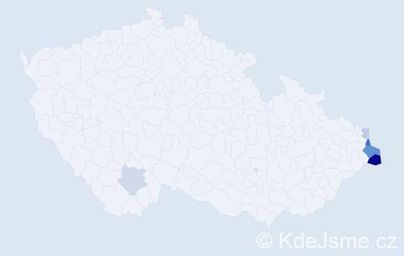 Příjmení: 'Dulawová', počet výskytů 10 v celé ČR