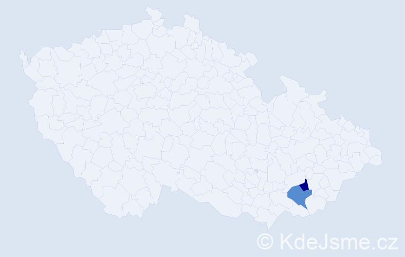 Příjmení: 'Ďubala', počet výskytů 4 v celé ČR