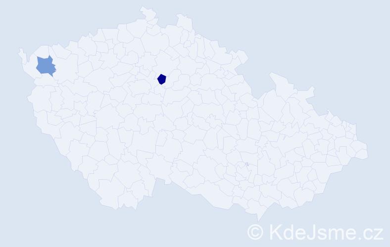 Příjmení: 'Kavůrová', počet výskytů 6 v celé ČR
