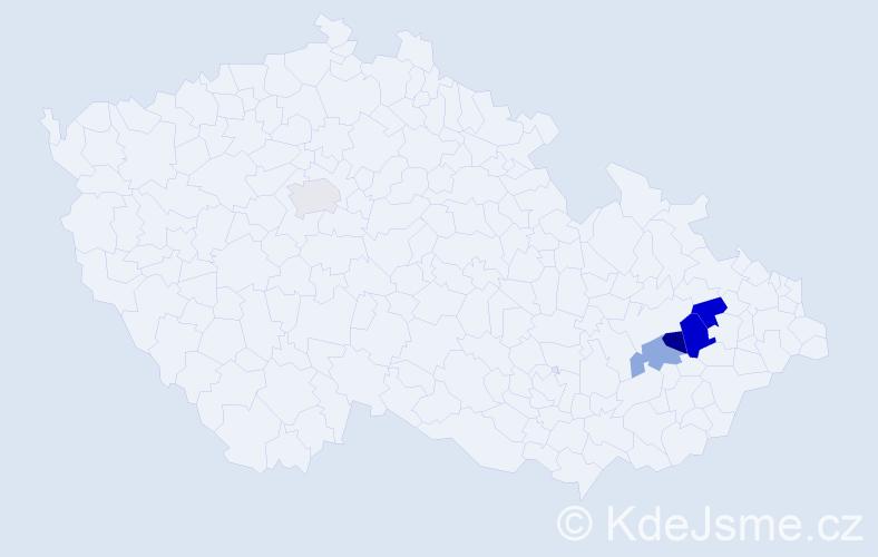 Příjmení: 'Hucel', počet výskytů 6 v celé ČR