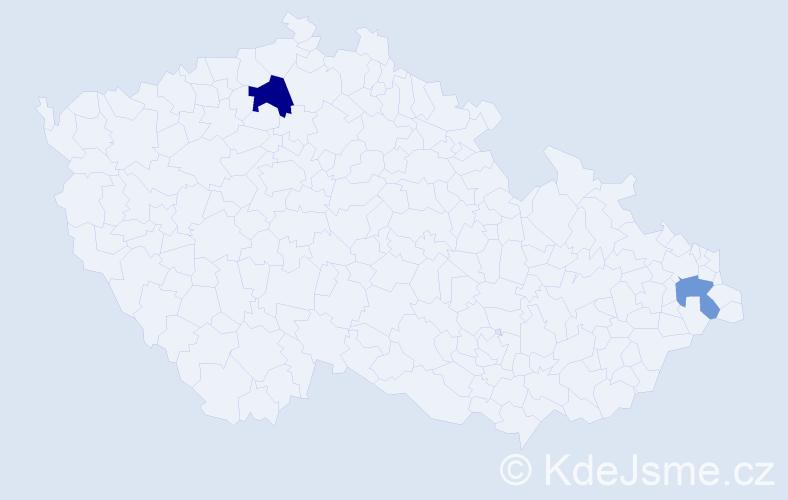 Příjmení: 'Hahndorfová', počet výskytů 3 v celé ČR