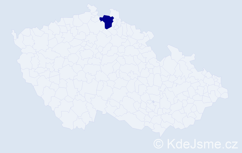 Příjmení: 'Kovba', počet výskytů 1 v celé ČR