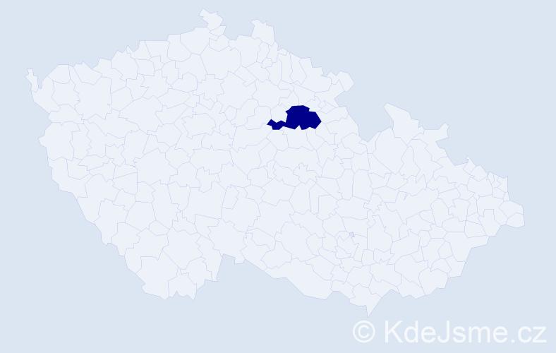"""Příjmení: '""""Kašparová Kolářová""""', počet výskytů 1 v celé ČR"""