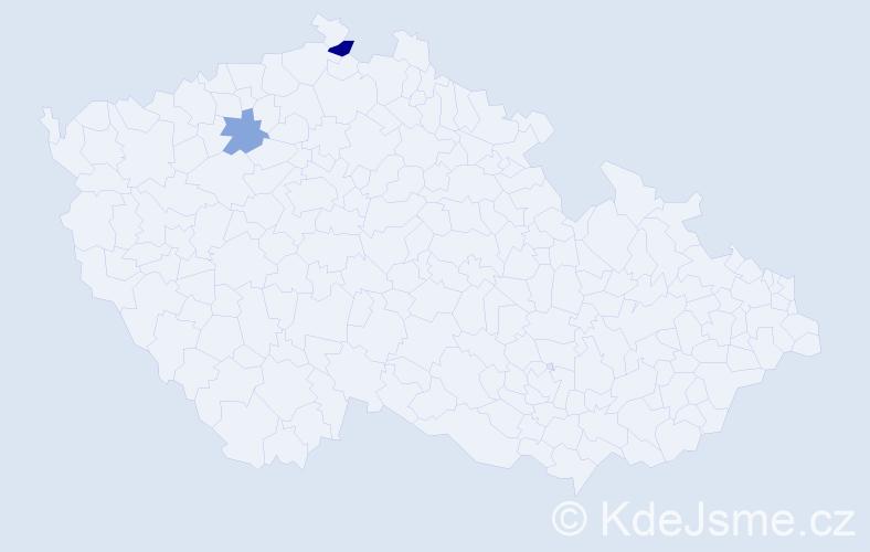 Příjmení: 'Lehrochová', počet výskytů 3 v celé ČR