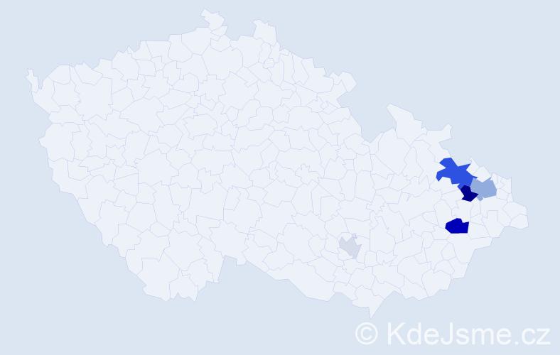 Příjmení: 'Čončková', počet výskytů 13 v celé ČR