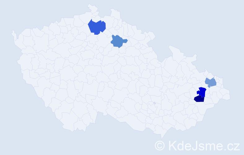 Příjmení: 'Bacul', počet výskytů 10 v celé ČR