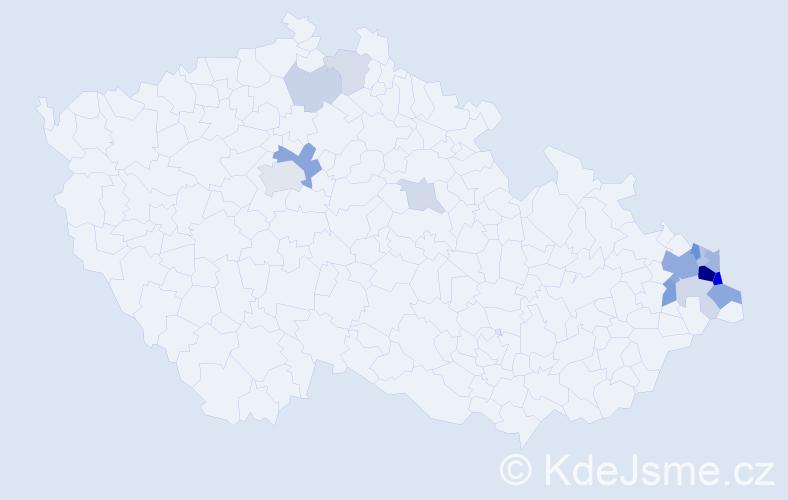 Příjmení: 'Folwarczna', počet výskytů 45 v celé ČR