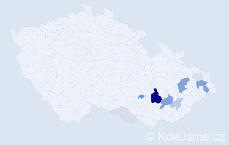 Příjmení: 'Kavečka', počet výskytů 33 v celé ČR