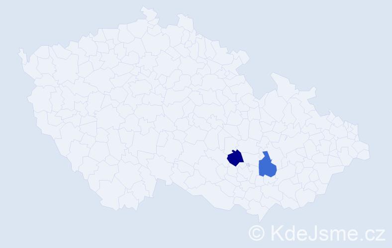 Příjmení: 'Ciha', počet výskytů 2 v celé ČR